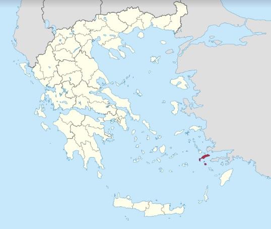 Mapa del mundo griego en el que se señala en rojo Cos, la isla donde nació Hipócrates, uno de los fundadores de la medicina hipocrática