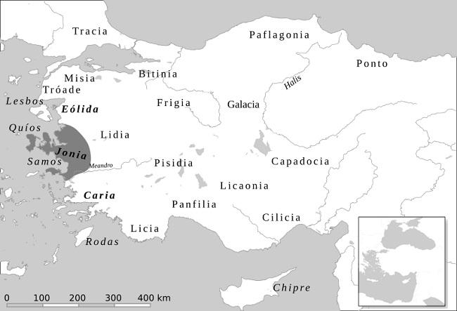 Mapa de las principales regiones de la península de Anatolia en el que se señala la ubicación de Jonia. De allí procedían los primeros filósofos y presocráticos