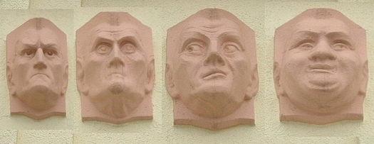 Moldes de arcilla que representan los cuatro temperamentos que los cuatro humores provocaban en el temperamento de las personas según la medicina hipocrática