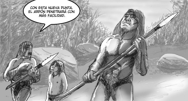 """Una de las ilustraciones del cómic """"De piedra y hueso: la historia de Cosmita"""""""