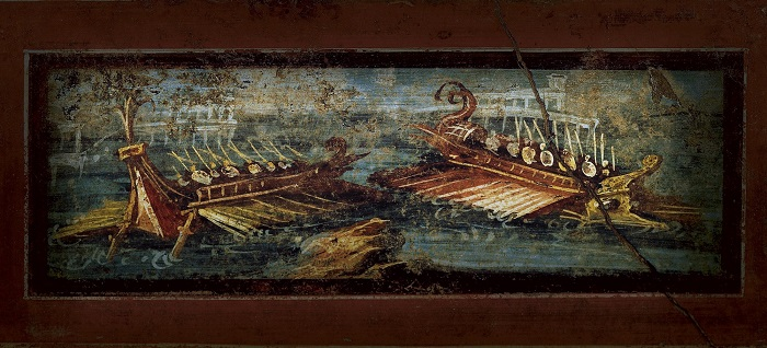 Pintura mural de la casa de los Vetti (Pompeya) que representa el ataque de unos piratas a una nave en alta mar como los que secuestraron al joven Julio César