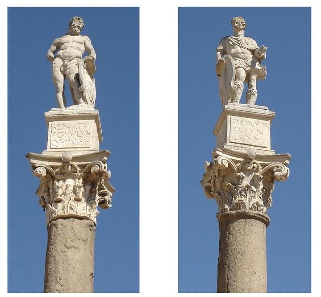 Columnas romanas con estatuas del siglo XVI en la cima dedicadas a Hércules (izquierda) y Julio César (derecha). Están ubicadas en la Alameda de Hércules, en Sevilla, símbolo de la presencia de Julio César en Hispania