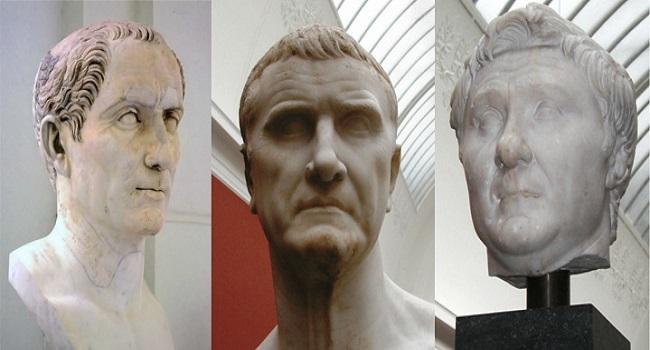 Bustos de Cayo Julio César, Marco Licinio Craso y Cneo Pompeyo Magno. El consulado de Julio César implicó su triunfo político