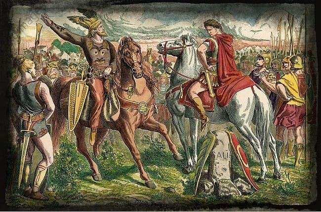 Ilustración hecha por Peter Johann Nepomuk Geiger en el siglo XIX que recrea el encuentro entre el líder germano Ariovisto y Julio César durante la guerra de las galias