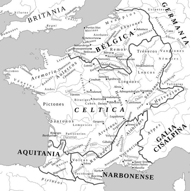 Mapa que muestra las ubicaciones en el mapa de los principales pueblos galos, como los protagonistas de la batalla de Alesia