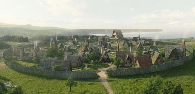 Reconstrucción digital de un poblado galo típico de los mencionados en la guerra de las galias