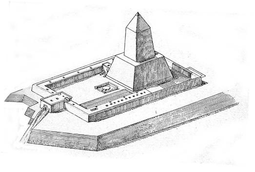 Posible reconstrucción del templo solar de Niuserra (2445-2421 a.C. aprox). Algunos expertos han sugerido que el templo de Heliópolis habría sido muy parecido