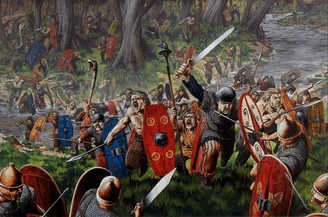 Ilustración hecha por Wayne Reynolds que recrea una de las batallas de la Guerra de las Galias, antes de la presencia de Julio César en Britania
