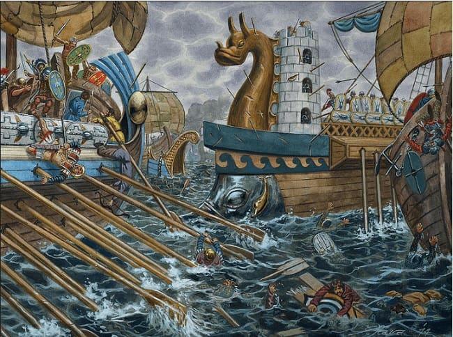 Ilustración hecha por Giuseppe Rava que recrea una de las batallas navales contra las tribus vénetas en el 56 a.C., durante la guerra de las galias