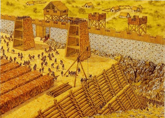 Ilustración de Adam Hook que representa el asedio de la ciudad de Avaricum, paso previo a la batalla de Alesia