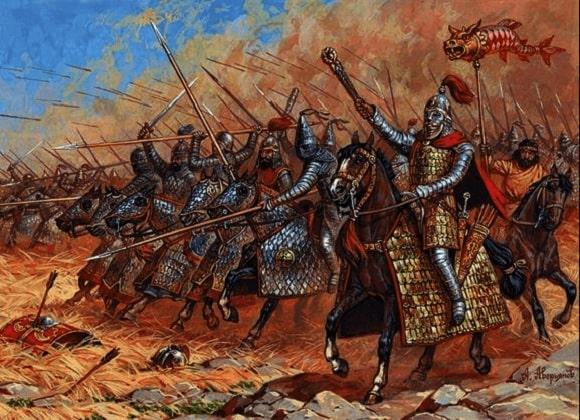 Ilustración de Alexander Averyanov que representa a catafractos del Imperio Parto como los de la batalla de carras