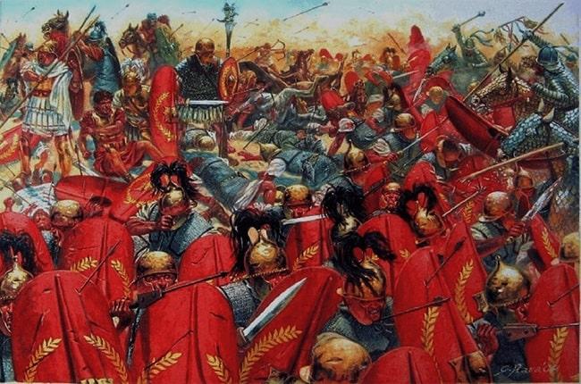 Ilustración de Giuseppe Rava que representa la batalla de Carras