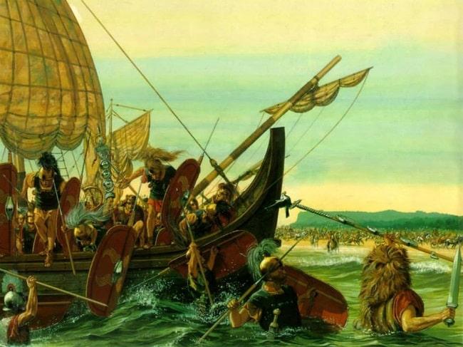 Ilustración de Peter Connoly que recrea el complicado desembarco de las tropas romanas en la primera campaña de Julio César en Britania