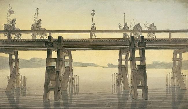 Ilustración del siglo XIX en la que se recrea el puente construido sobre el río Rin antes de la campaña de Julio César en Britania