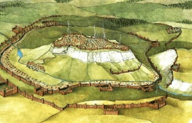 Ilustración que recrea el asedio de Alesia en el 52 a.C.