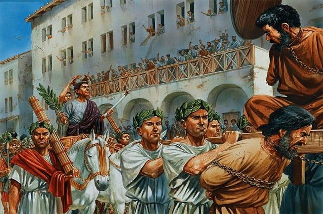 Ilustración que recrea la celebración de uno de los triunfos de Pompeyo Magno