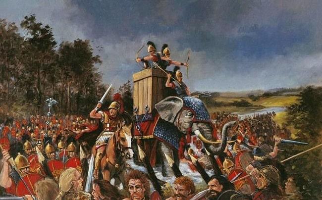 Ilustración que recrea una batalla entre romanos y britanos al lado del río Támesis, durante la segunda expedición de Julio César en Britania en el 54 a.C.