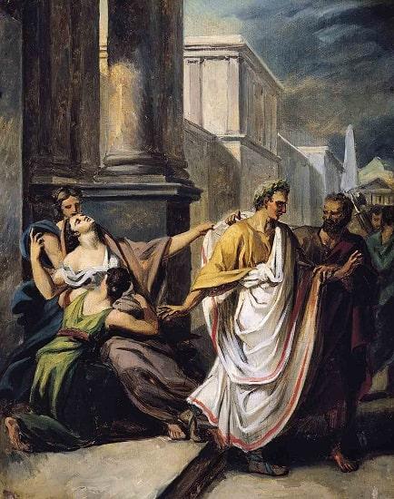 Julio César yendo al Senado en los idus de marzo, obra de Abel de Pujol en la que sale la tercera de las esposas de Julio César