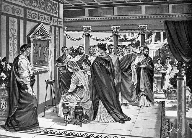 Litografía en la que se recrea la boda entre Pompeyo Magno y Julia, hija de Julio César. La segunda de las esposas de Julio César también llegaría ese año