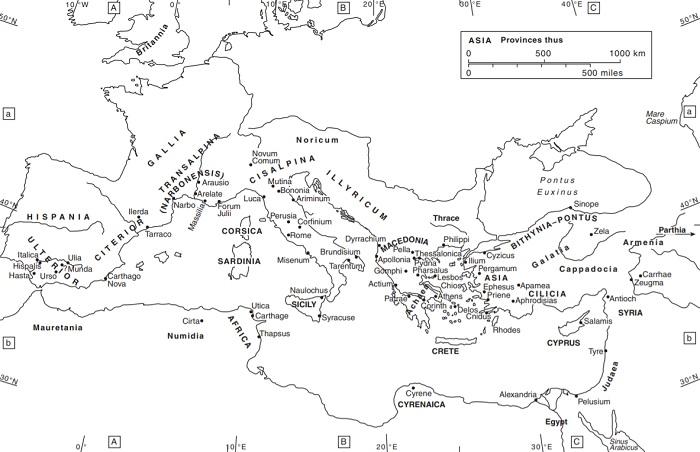 Mapa en inglés que muestra el mundo romano en los años de las guerras civiles romanas del 49 al 30 a.C., incluyendo la batalla de Dirraquio
