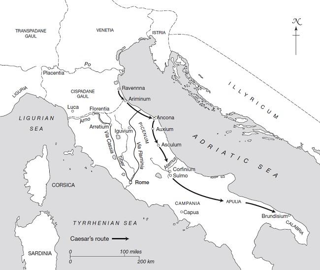Mapa en inglés que muestra la campaña de Julio César en Italia en los primeros meses de la segunda guerra civil romana