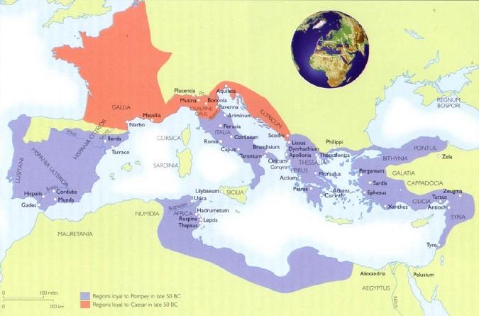 Mapa en inglés que muestra las regiones bajo influencia de los pompeyanos (en azul) y los cesarianos (en rojo) poco antes del inicio de la Segunda Guerra Civil romana