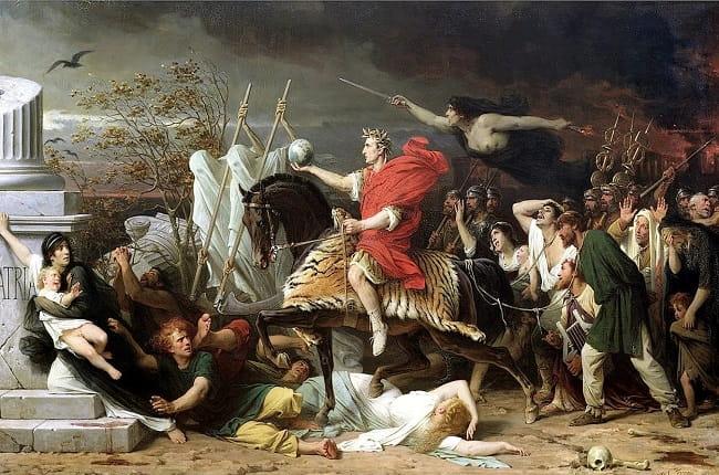 Obra de Eugène Yvon hecha en 1875 que recrea a Julio César dispuesto a cruzar el río Rubicón para empezar el conflicto de César contra Pompeyo
