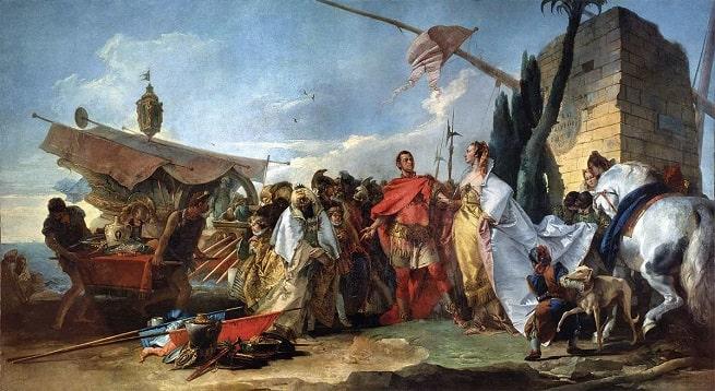 Obra de Giovanni Battista Tiepolo hecha en el siglo XVIII que recrea el primer encuentro entre Julio César y Cleopatra VII, una de sus aventuras al margen de las esposas de Julio César