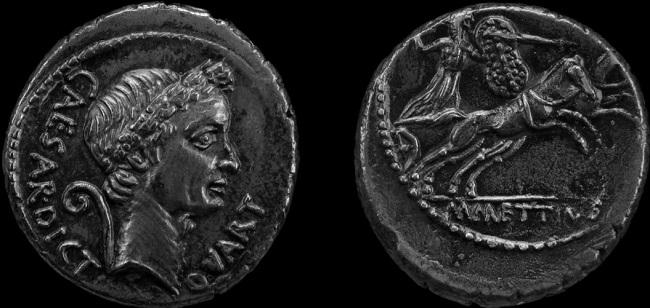 Una moneda romana con el retrato de Julio César, uno de los rivales en el conflicto César contra Pompeyo