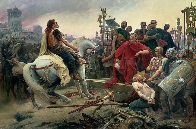 Vercingétorix arroja sus armas a los pies de Julio César tras la batalla de Alesia, obra de Lionel Noel Royer