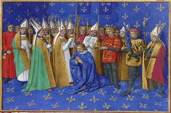 Detalle de un manuscrito medieval en el que se representa la coronación de Felipe II de Francia, uno de los reyes capetos