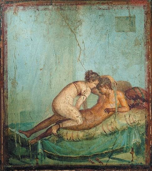 Detalle de una pintura erótica hallada en la Casa del Centenario, en Pompeya. Muestra el mundo del amor y el sexo en la antigua Roma