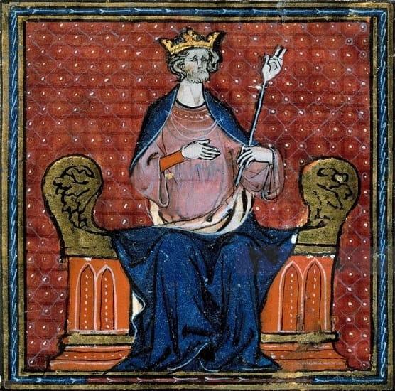 Detalle de un manuscrito medieval en el que se representa a Hugo Capeto, primer rey de la dinastía de los Capetos en Francia