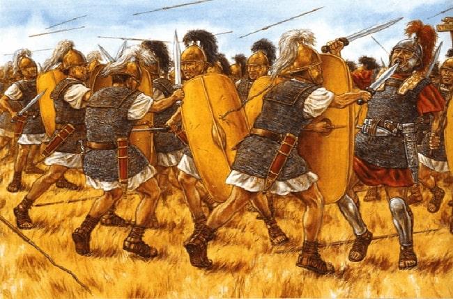 Ilustración de Adam Hook que representa un momento de la batalla de Farsalia entre Julio César y Pompeyo