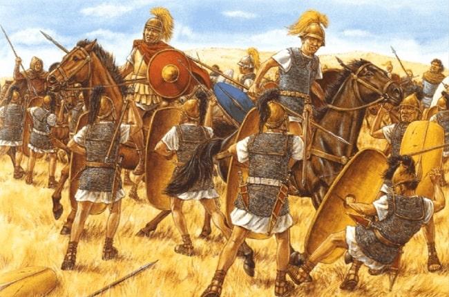 Ilustración de Adam Hook que representa un momento de la batalla de Farsalia