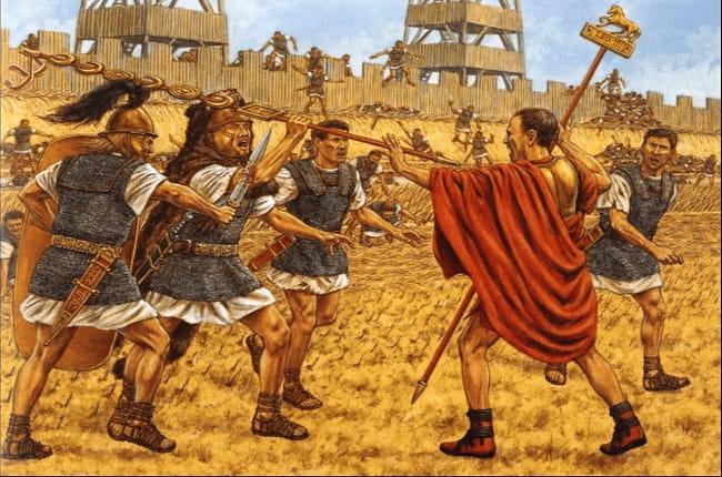 Ilustración hecha por Adam Hook que recrea la lucha en la batalla de Dirraquio