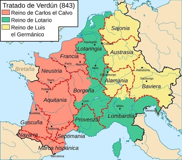 Particiones territoriales pactadas en el Tratado de Verdún de 843, previo al origen de los capetos en Francia