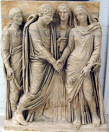 Representación de una ceremonia de matrimonio, amor y sexo en la antigua Roma Wikimedia