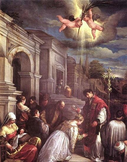 San Valentín bautizando a Santa Lucilla, obra de Jacopo Bassano hecha en el siglo XVI