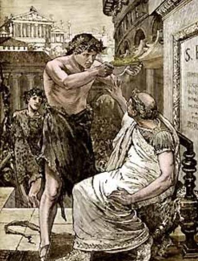 """""""César rechaza la diadema de rey que le ofrece Marco Antonio"""", grabado de John Clark Ridpath hecho en 1894"""