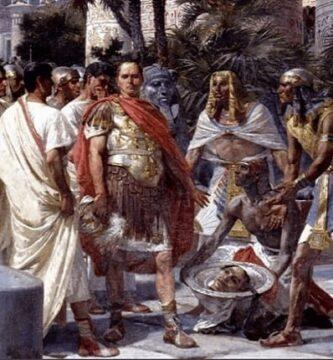 César rechaza ver la cabeza decapitada de Pompeyo Magno-