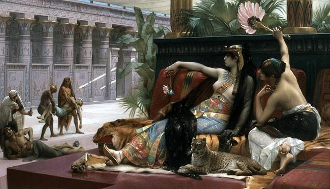 Cleopatra probando venenos con condenados a muerte, obra hecha por Alexandre Cabanel en el siglo XIX