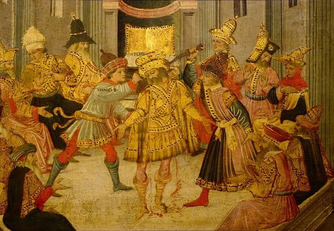 El asesinato de Julio César en los idus de marzo, obra de Apollonio di Giovanni hecha a mediados del siglo XV