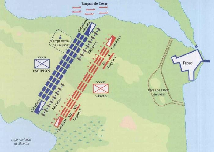 Esquema que muestra la distribución de los ejércitos en el terreno de la batalla de Tapso