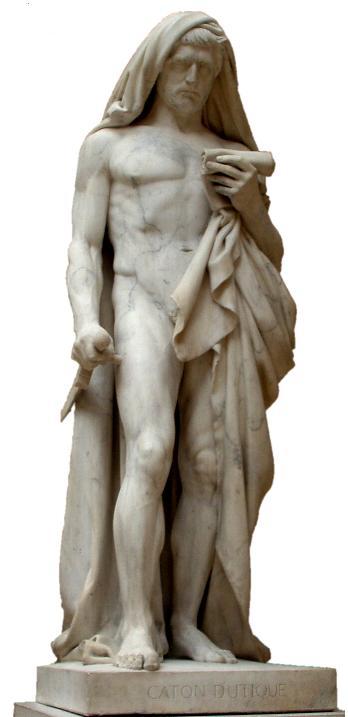 Estatua de Catón el Joven hecha por Jean-Baptiste Roman sobre uno de los líderes de la batalla de Tapso