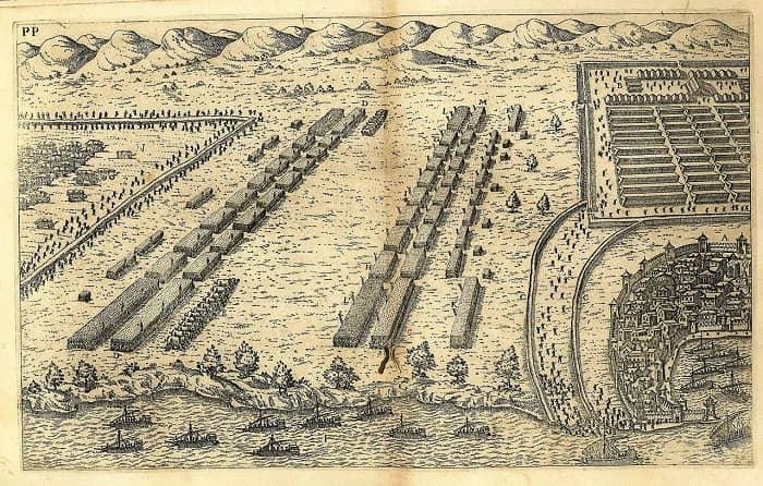 Grabado del siglo XVII que recrea la disposición de fuerzas cesarianas y pompeyanas en la batalla de Tapso