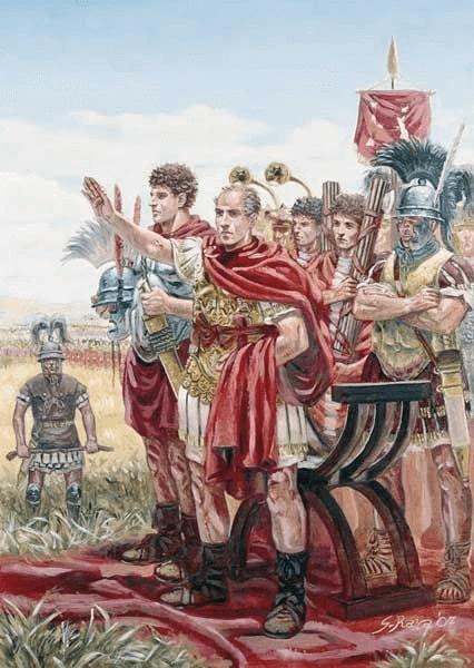Ilustración de Giuseppe Rava que recrea a Julio César después de la batalla de Munda