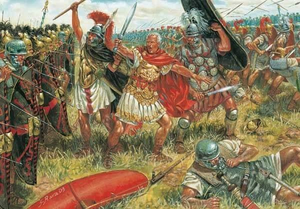Ilustración de Giuseppe Rava que recrea a Julio César durante la batalla de Munda en el 45 a.C.