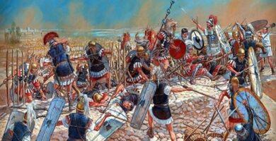 Ilustración de Igor Dzis que recrea un momento de la batalla de Tapso