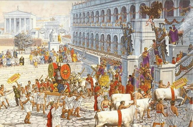 Ilustración de Peter Connolly que recrea la celebración de un triunfo en las calles de Roma, no en la dictadura de Julio César
